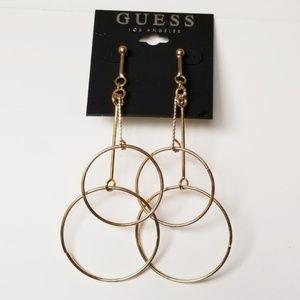 NWT Guess Dangling Gold Hoops Stud Earrings